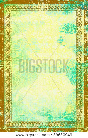 Elegant Vintage Brown Border Frame: Abstract Textured Background With Blue, Green, And  Yellow Patte