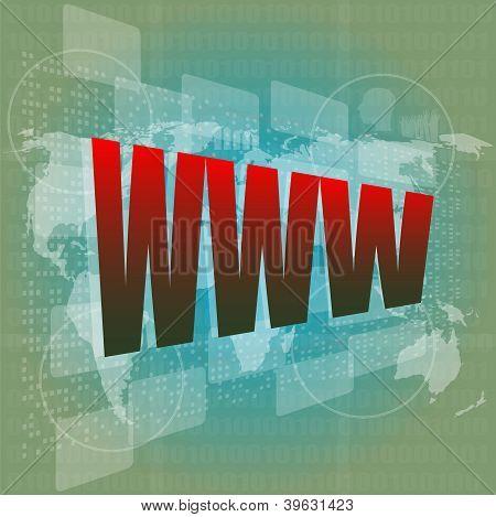 Www Worte auf digitalen Bildschirm