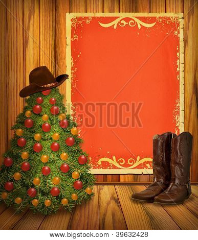 Cowboy Christmas Tree And Boots With Red Paper Background For Text
