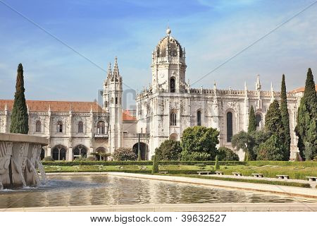 Gorgeous Portugal. Embankment of the River Tagus in Lisbon. A  huge monastery of St. Jerome