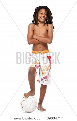 Happy Young Rasta Guy With Football Isolated On White