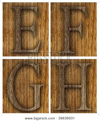Teak wood E-H blocks with letters