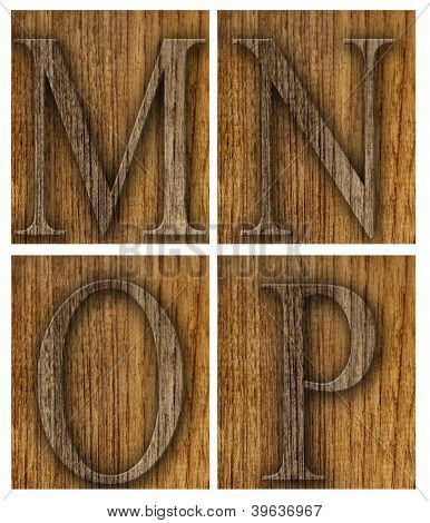 Teak wood M-P blocks with letters