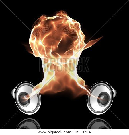 Black Audio System With Fiery Sound Waves Forming Fire Ball