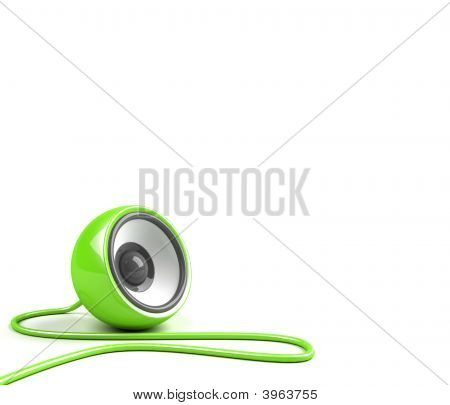 Bright Green Speaker With Cable