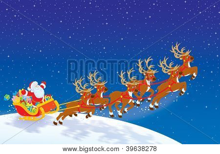 Sleigh of Santa taking off in night sky