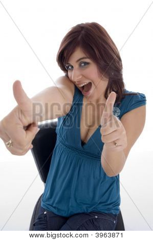 Pleased Woman Wishing Goodluck
