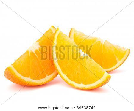 Three orange fruit segments or cantles isolated on white background cutout