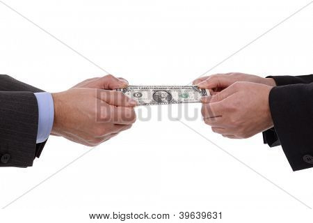 Currency tug-of-war concept for business rivalry, relationship difficulties or divorce settlement between a man and woman