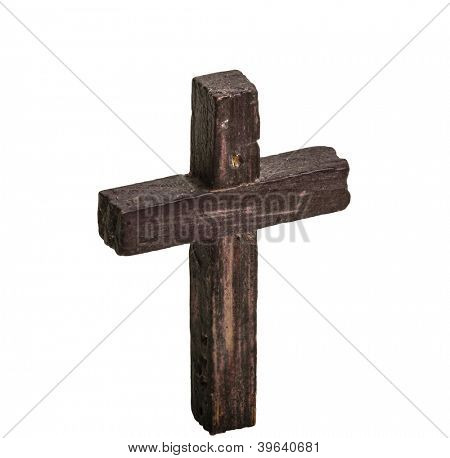 Wooden cross isolated on white