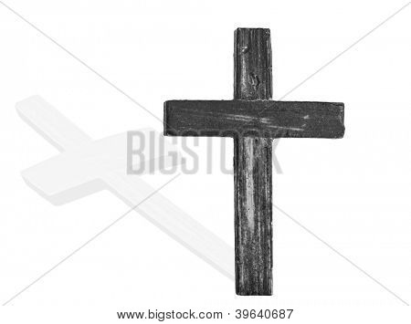 Wooden cross isolated on white with shadow