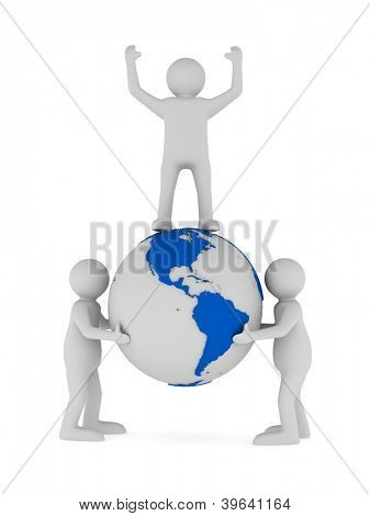 people and globe on white background. Isolated 3D image