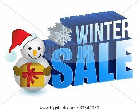 Winter Sale Snowman Sign
