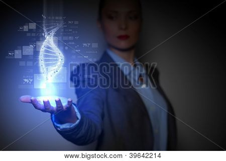 DNA science background with business person on the background