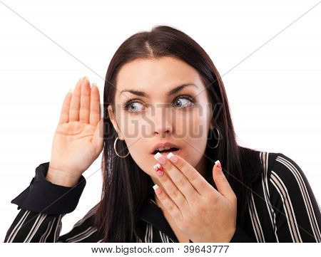 Surprised Businesswoman Listening Isolated On White Background