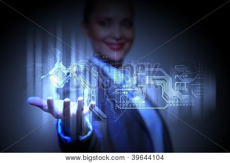 Control programming algorithm block with business person on the background