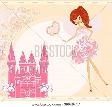 fairy with magic wand flying above castle