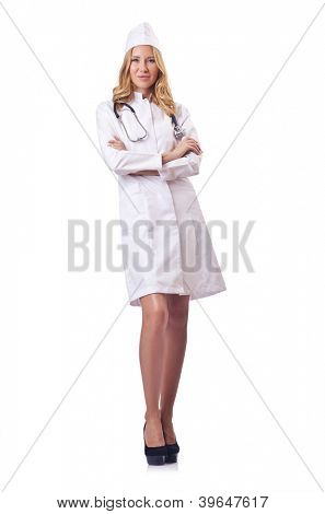 Attrative woman doctor isolated on white