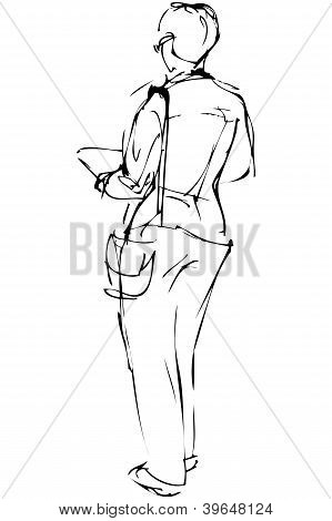 Sketch Of Beautiful Girl Spectacled