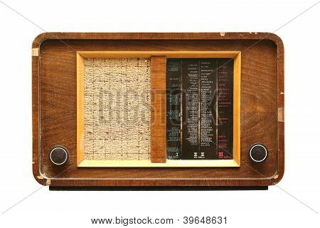 Wooden Radio Isolated On White