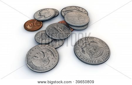 Us Dollar Coins isolated on white background