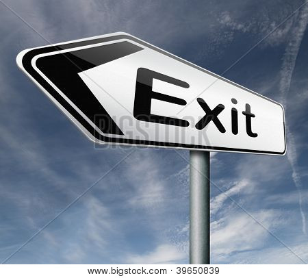 exit road sign arrow the way out to the finish exit door emergency door escape route leaving emergency exit guide pointing direction evacuate evacuation