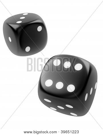 Two Black Dices Isolated