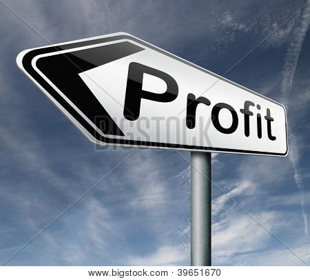 profit road sign arrow way to progress prosperity success and wealth financial growth profit icon profit button