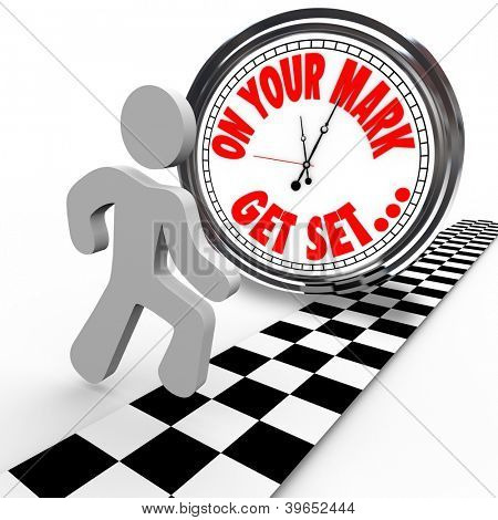 A man is about to start a race against a clock showing the words On Your Mark, Get Set and the person is ready to go to start the competition