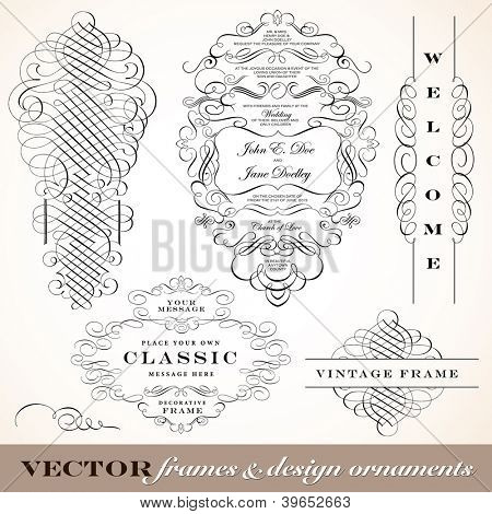 Vector Vintage Ornament Frame Set. Easy to edit. Perfect for invitations or announcements.