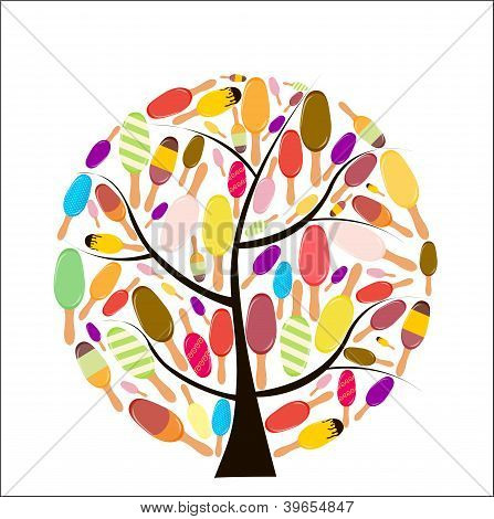 Colorful popsicles vector illustration on tree.