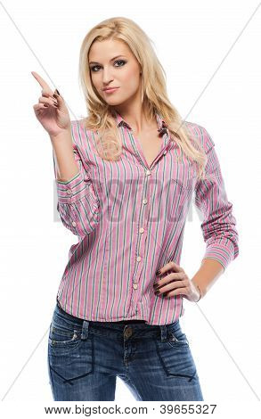 Blonde Caucasian Woman Pointing At Copyspace