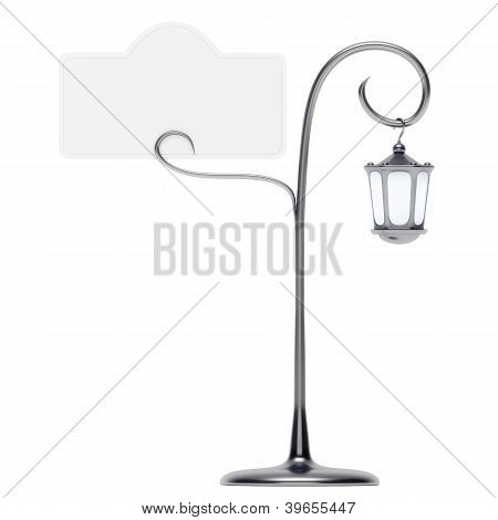 Antique Lamp Post With Card Holder Isolated