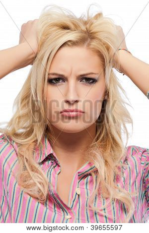 Closeup Portrait Of A Nervous Blonde Woman