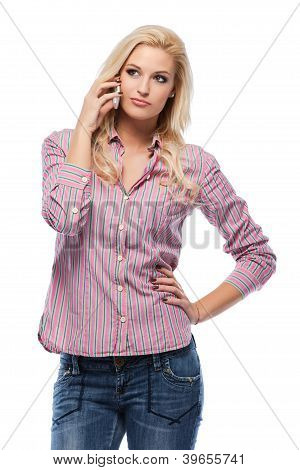 Blonde Woman Making A Call In Studio