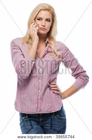 Caucasian Woman Making A Call Isolated On White