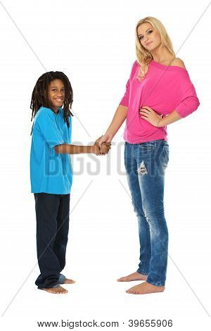 Blonde Sister Shaking Hands With Her Rasta Brother