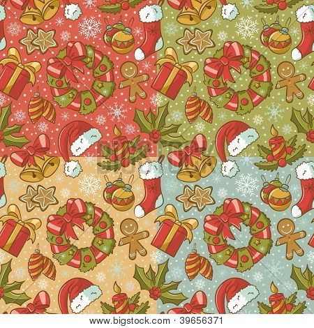 Christmas Seamless Patterns Vintage Style Set