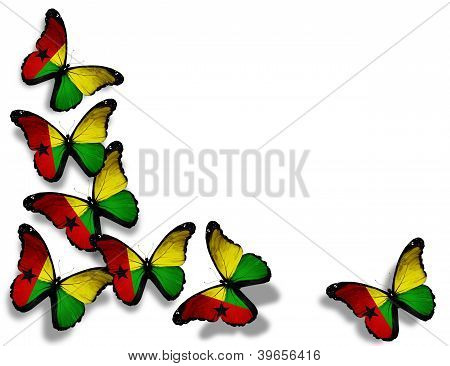 Guinea-bissau Flag Butterflies, Isolated On White Background