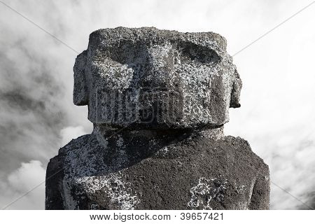 Massive Moai Head Against Cloudy Sky