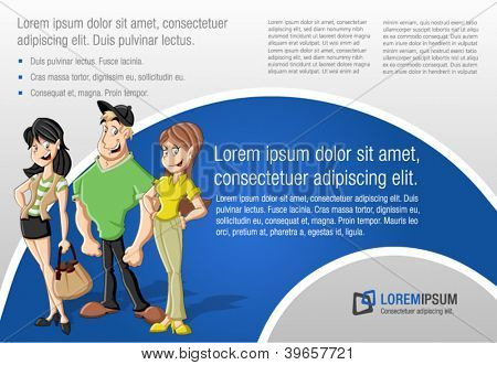 Blue template for advertising brochure with a group of fashion cartoon young people. Teenagers.