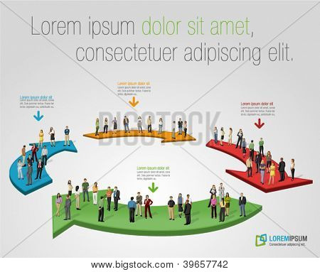 Template for advertising brochure with business people over arrows
