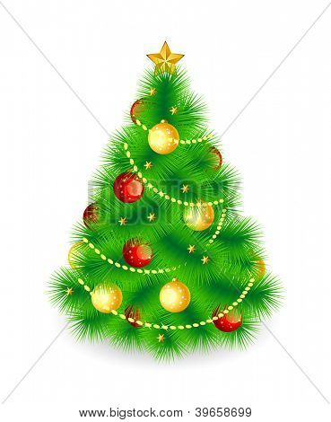 Christmas tree.Raster illustration,isolated on white background.