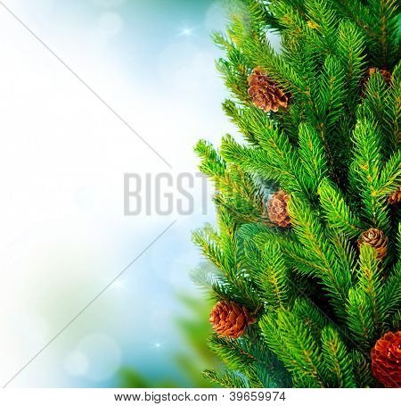 Christmas Tree. Pine tree or Fir Tree with Cones Closeup.Art Border Design
