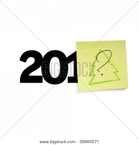 New year concept with question sign an yellow sticky papers. Raster version, vector file available in portfolio.