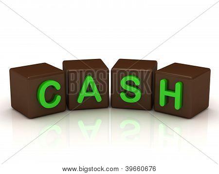 Cash Inscription Bright Green Letters