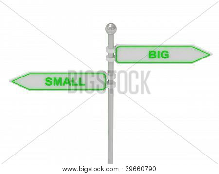 """Signs With Green """"small"""" And """"big"""""""