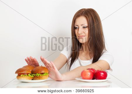 woman refuses to the junk food