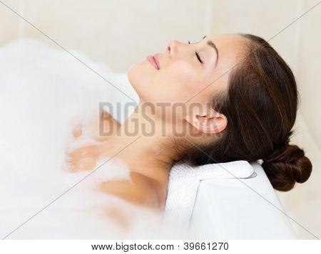 Bath Woman Relaxing Bathing
