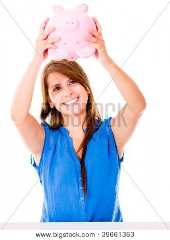 Woman using her piggybank savings - isolated over a white background